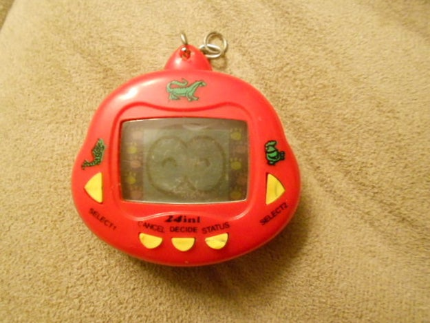 Begging for a Tamagotchi for Christmas, but, instead, getting a knock-off one.