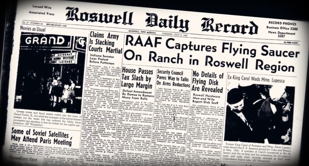 "The Roswell Daily Record's front page ran a headline that claimed to have captured a ""flying saucer."""