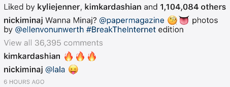 Even Kim Kardashian thought the cover was hot, commenting on IG with three fire emojis.