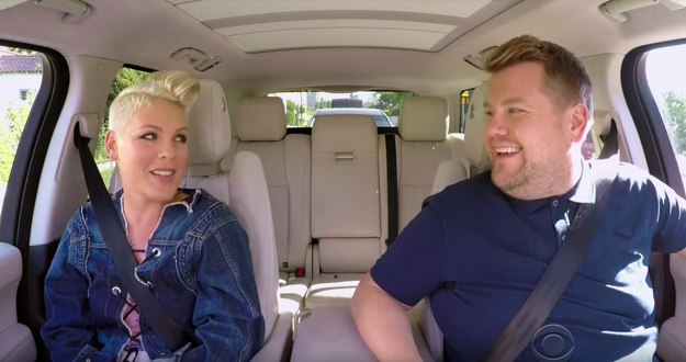 """Let's get down to business: A new edition of James Corden's """"Carpool Karaoke"""" aired last night, and this time the guest was Pink!"""