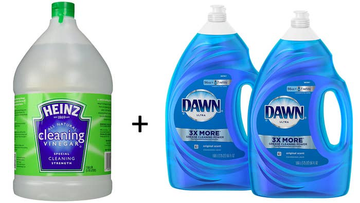 Find the full recipe for how to DIY this shower cleaner at Genius Kitchen.Get the cleaning vinegar from Amazon for $12.60 or Walmart for $4.33 and get a two-pack of 56 oz bottles of Dawn dishwashing soup from Amazon for $13 or a single bottle from Walmart for $7.12.