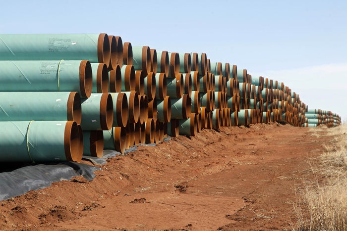 Rows of pipe ready to become part of the Keystone Pipeline are stacked in a field near Cushing, Oklahoma.