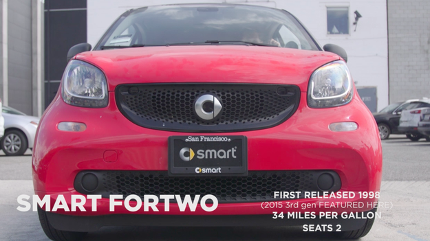 That would be the 2015 Smart ForTwo. It seats (you guessed it) two, and you get 34 miles to the gallon. Not bad, eh?