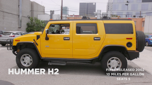 First, the guys head on over to try out a badass yellow Hummer H2 because — if you're talking space — this baby has space!