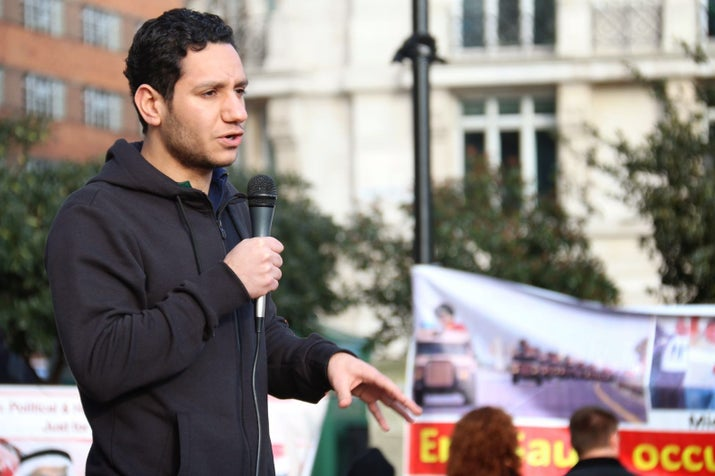 Sayed Ahmed Alwadaei speaking at a demonstration.