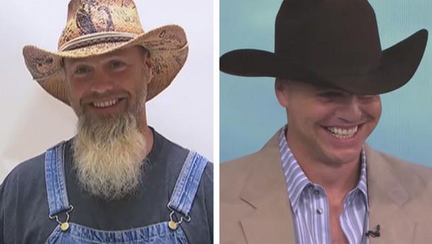 Before: Scruffy farmboy. After: Hunky cowboy.