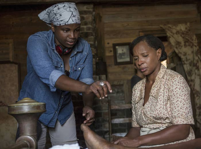 Director Dee Rees (left) and Mary J. Blige on the set of Mudbound.