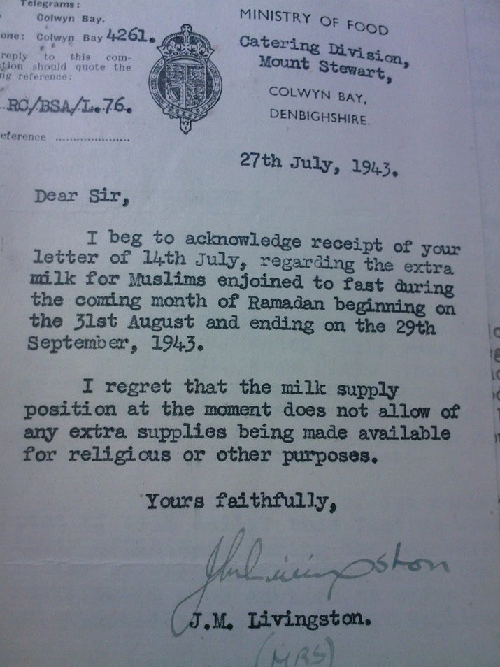 Correspondence with the Ministry of Food in 1943 about rations of milk during Ramadan, the Islamic holy month.