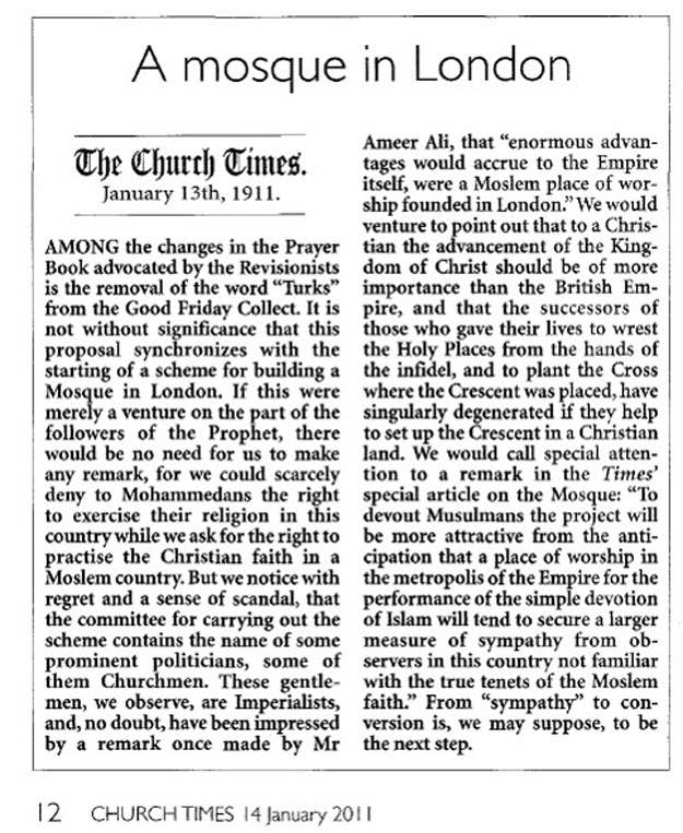 A Church Times article about the new mosque in London.