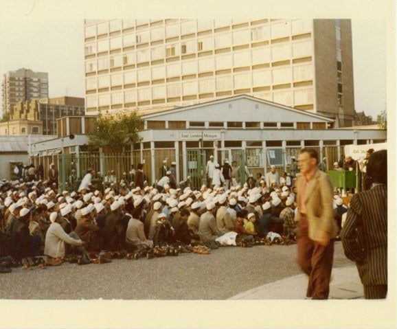 Friday prayers at East London Mosque on Fieldgate Street.