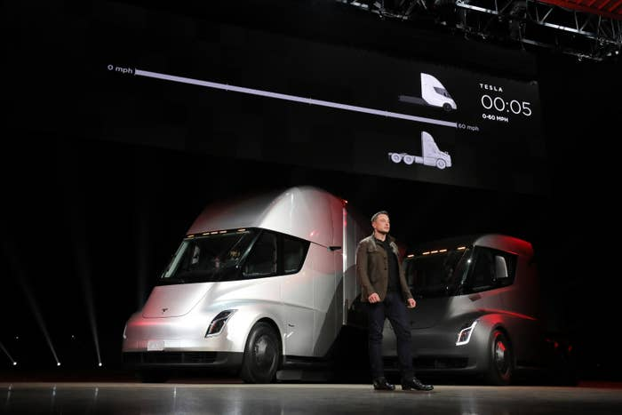 Elon Musk in front of the new Tesla Semis at the Semi Unveil Event on Thursday, Nov. 16.