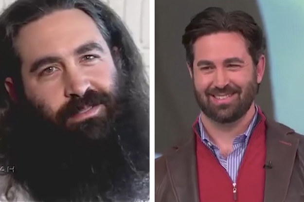 Before: Biblical and beardy. After: A well-groomed glow-up.