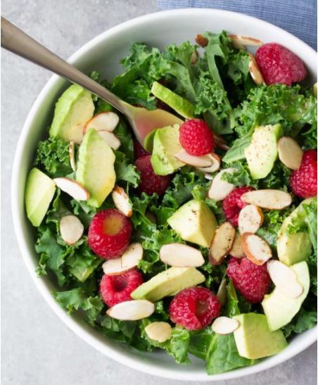 Avocado Kale Salad With Honey Lemon Dressing