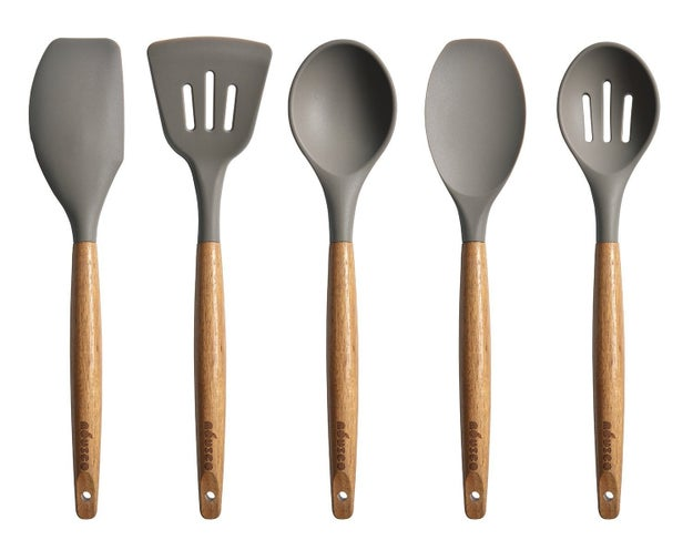 This gorgeous set of acacia wood and silicone utensils.