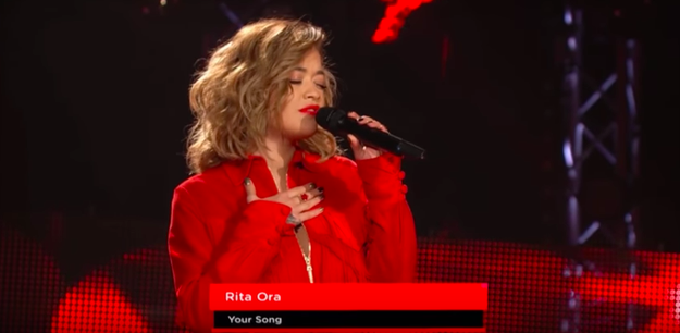 "The show was doing those classic ""blind auditions,"" where the judges are all faced away from the stage so they can't see the singers. Rita came out and started singing her own single, ""Your Song."""