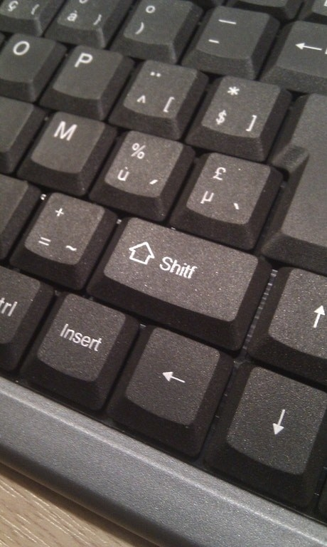 "And whoever forgot to spell check this ""shitf"" key."