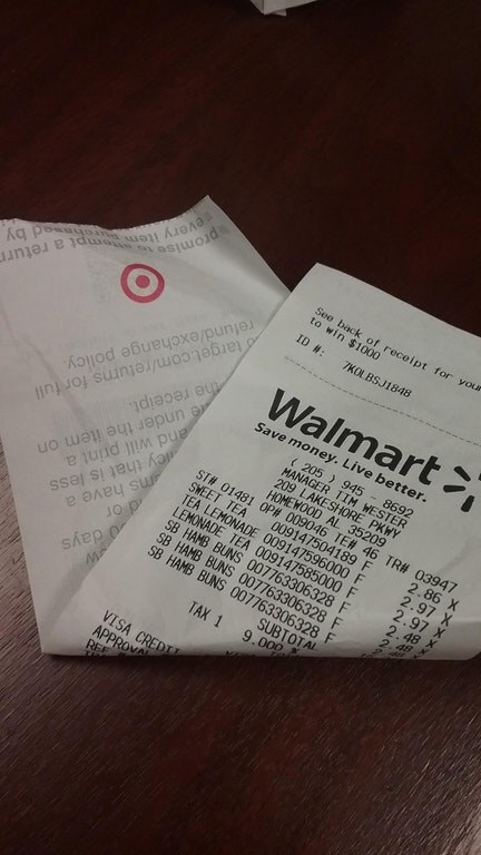 This Walmart employee, who somehow managed to stock their register with receipt paper from Target?