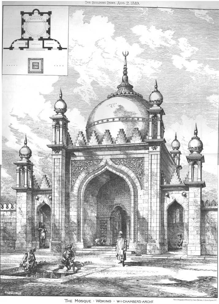 A sketch of the Shah Jahan Mosque in Oriental Road, Woking, England, the first purpose-built mosque in the UK, built in 1889. The management of the Shah Jahan Mosque was taken up by some of the trustees of the London Mosque in 1912.