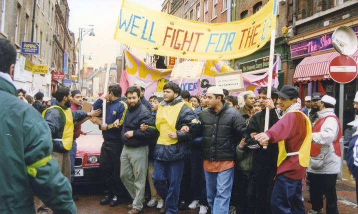Locals marching against an order to secure the land adjacent to the mosque that was intended to create room for a planned extension for the mosque.