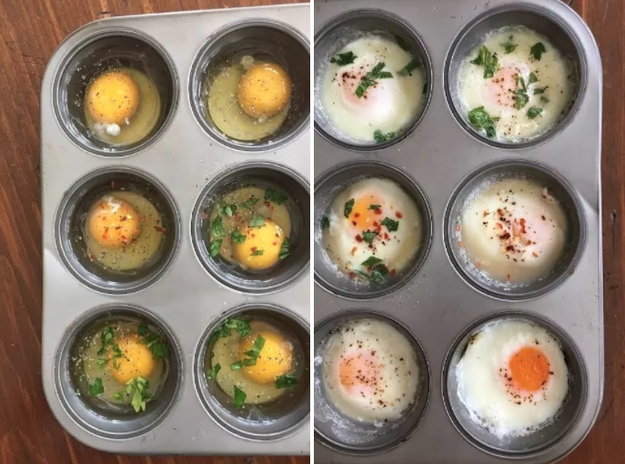 You can make a big batch of poached eggs at once by baking them in a muffin tin.