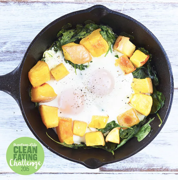 Baked Eggs In Butternut Squash and Spinach