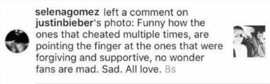 And when Selena ended the shade-fest with this comment. #AllLove