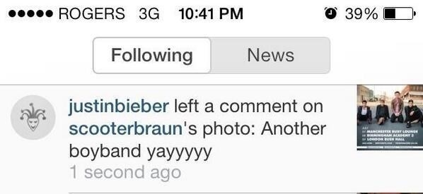 And when Justin Bieber commented on Scooter Braun's Insta, shading UK boy band Rixton.