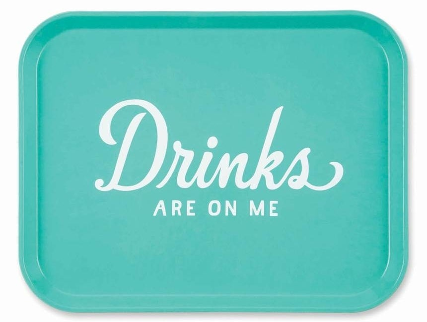 """Price: $20.98 (originally $35). Also available in a ~millennial pink~ version that says """"Brunch Lady"""" and a black version that says """"Consider Yourself Served.""""Promising review: """"Tray is just as described. It does not however tell you how sturdy it is and how vibrant the color is on it. It is the perfect accessory for a fun bar or kitchen and will definitely be a topic of discussion! I may order the other trays on your site to add to fun! I definitely recommend you buy this!"""" —Mommabea3"""