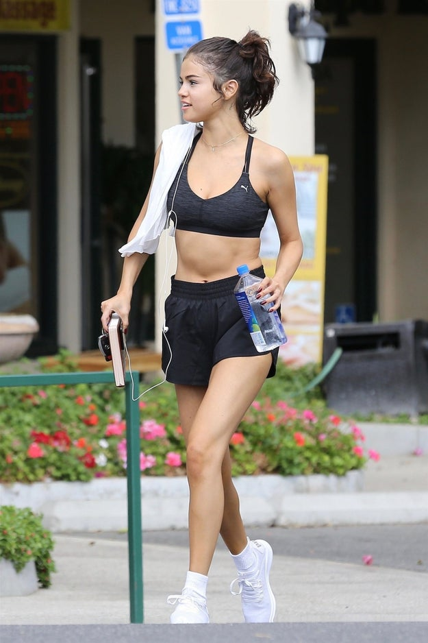 Selena Gomez after yoga: Cool, calm, and collected. Girl just got her yoga on! Bazinga!