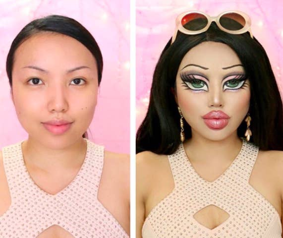 Here's a side-by-side comparison of Tamang without makeup vs. her with Bratz makeup.