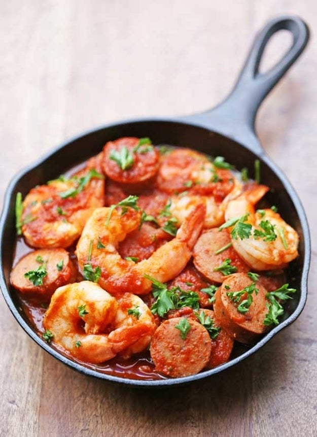 Skillet Sausage and Shrimp