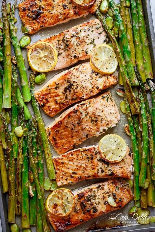 One-Pan Lemon Garlic Baked Salmon and Asparagus