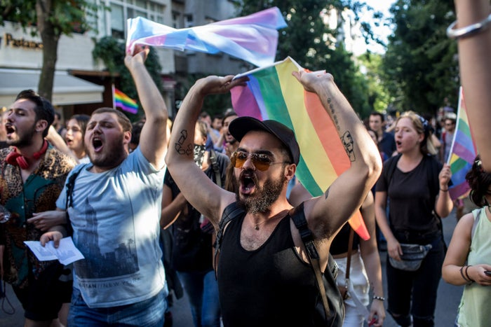 LGBT supporters march toward Istanbul's Taksim square in June 2017 after the annual pride march was banned for the third straight year.