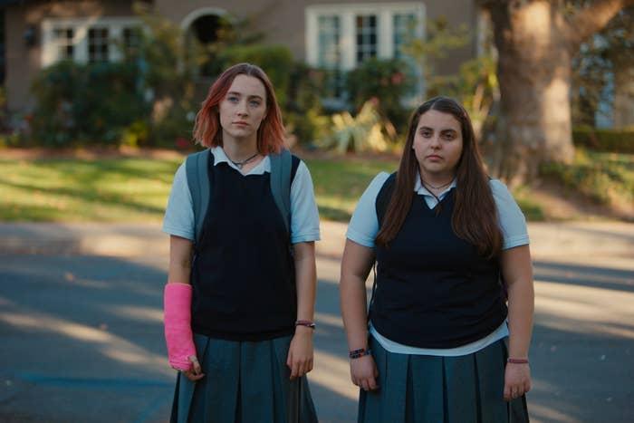 Lady Bird (Saoirse Ronan) and her best friend Julie Steffans (Beanie Feldstein) in Lady Bird.