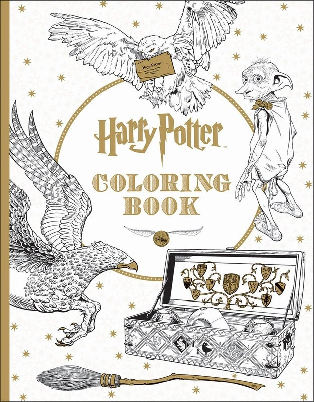 A coloring book filled with all sorts of magical things. Quidditch posters! Hogwarts! The Forbidden Forest!