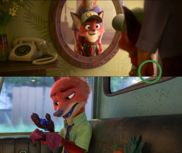 Also in Zootopia, Nick's handkerchief is the same one from his old scout uniform.
