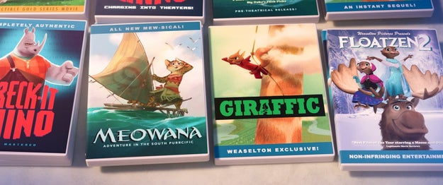 In Zootopia, a table of bootleg DVDs include animal versions of various Disney movies.
