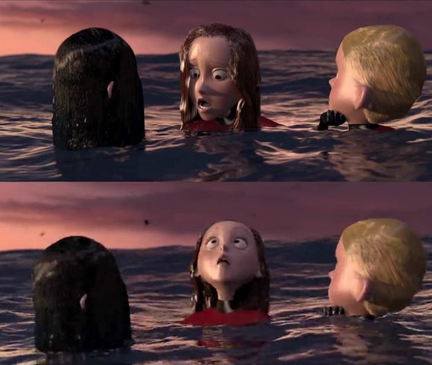 In The Incredibles, Helen realizes that the plane wreckage is about to fall on them by seeing its reflection in the water.
