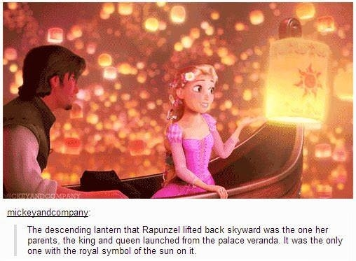 In Tangled, the lantern that Rapunzel touches is the same lantern that her parents lit.