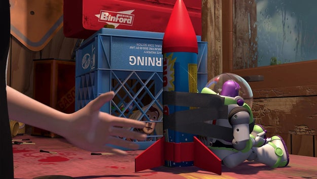 In Toy Story, there's a Binford Tools box in Sid's house. Binford Tools was the fictional company in Home Improvement, which starred Tim Allen (the voice of Buzz Lightyear).