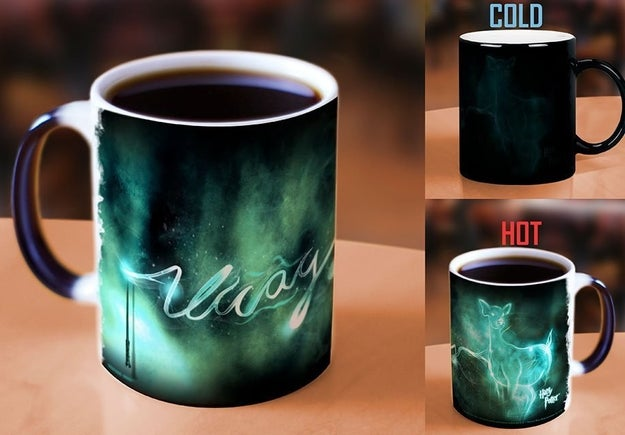 """Or a heat-changing mug you won't even need to yell """"Expecto Patronum"""" at. Your Patronus will just appear. Phew."""