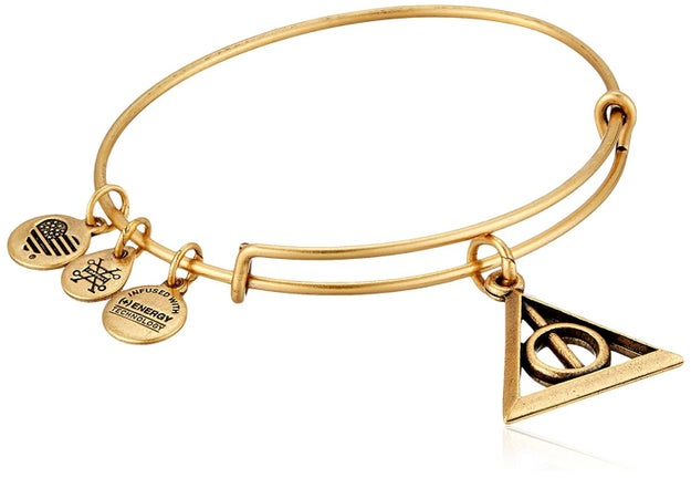 A bangle bracelet composed of The Elder Wand, The Resurrection Stone, and The Cloak of Invisibility.