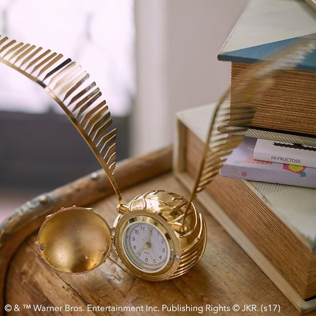 A golden snitch clock that's actually pretty annoying. It always flies away before I get a chance to see the time.