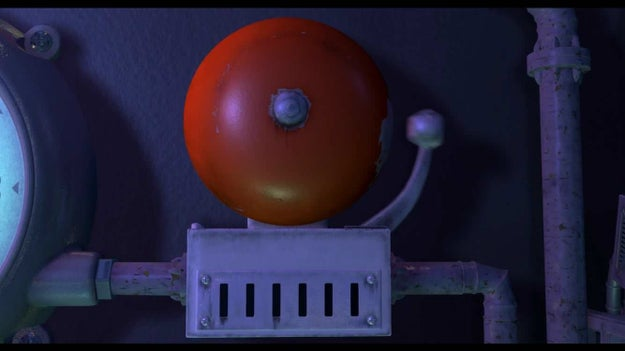 In Monsters Inc., the bell on the scare floor has chipped paint where the ringer hits it every day.