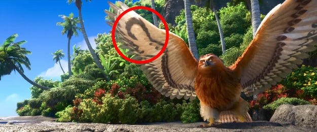 Whenever Maui transforms into an animal in Moana, his hook can be seen somewhere on his body.