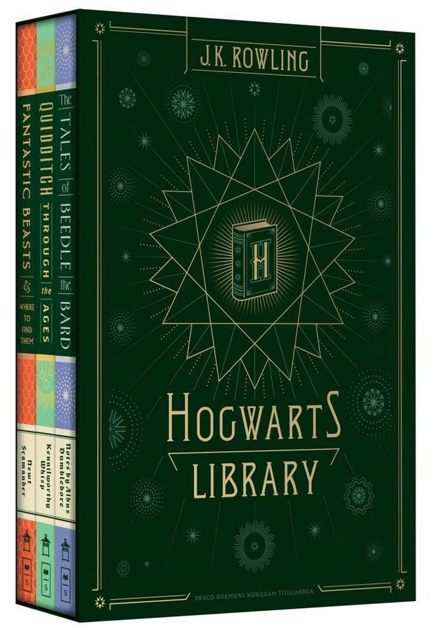 A book set complete with Fantastic Beasts and Where to Find Them, Quidditch Through the Ages, and Tales of Beedle the Bard.