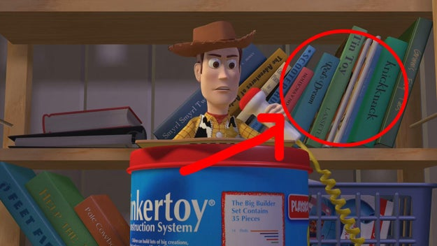 The names of previous Pixar shorts are featured on the bookshelf in Toy Story.