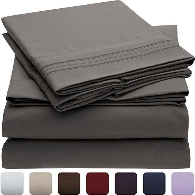 This bed sheet set includes a flat sheet, fitted sheet, and two pillowcases. It also comes in 36 different color and patterns, and seven different sizes. The sheets are made from brushed microfiber and have a literal lifetime guarantee. See? I told you it sounded too good to be true.