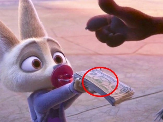 In Zootopia the one-dollar bills have a buck on them.