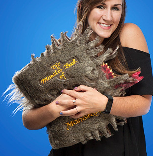 A Monster Book of Monsters plush pillow that's surprisingly calm. But pet it with caution, just in case.